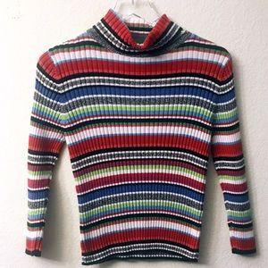 Fisher Hill Multicolor Striped Turtleneck Sweater